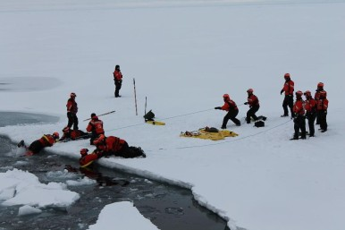 The U.S. Coast Guard practiced different rescue techniques before our first ice station.