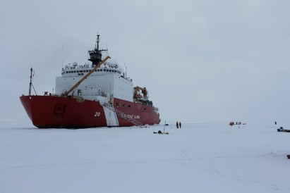 A view of the USCGC Healy from the ice. The U.S. GEOTRACES program sampled their first ice station on September 7, 2015 near the North Pole.